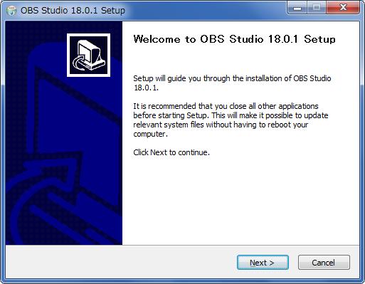 obs studioインストーラー(welcomeページ)
