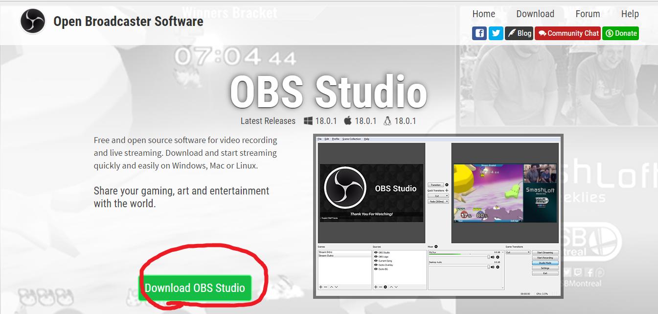obs studioダウンロードボタンをクリック