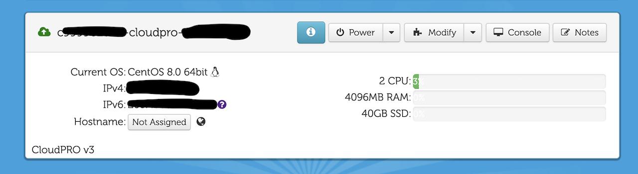 CloudatCostサーバーインストール完了