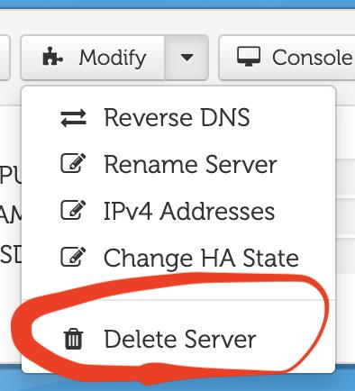 CloudatCost サーバーの削除