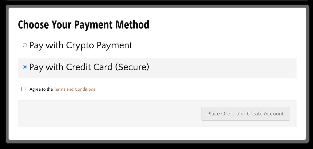 CloudatCost支払い方法の選択